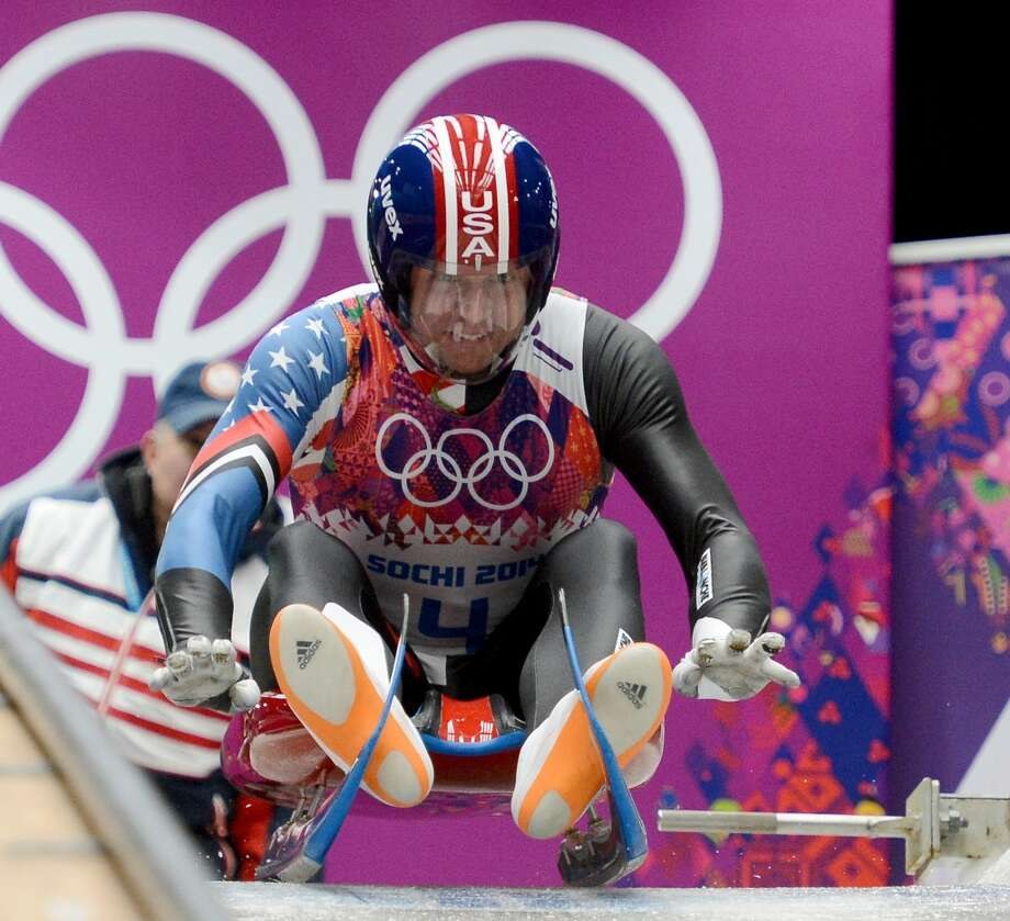 The USA's Christopher Mazdzer (4) starts his luge run in the first heat of the men's single luge at the Sanki Sliding Centre during the Winter Olympics in Sochi, Russia, Saturday, Feb. 8, 2014. (Chuck Myers/MCT) Photo: Chuck Myers, McClatchy-Tribune News Service