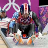 The USA's Christopher Mazdzer (4) starts his luge run in the first heat of the men's single luge at the Sanki Sliding Centre during the Winter Olympics in Sochi, Russia, Saturday, Feb. 8, 2014. (Chuck Myers/MCT)