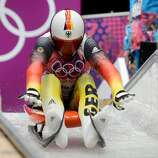Germany's Felix Loch (10) starts his luge run in the first heat of the men's single luge at the Sanki Sliding Centre during the Winter Olympics in Sochi, Russia, Saturday, Feb. 8, 2014. (Chuck Myers/MCT)