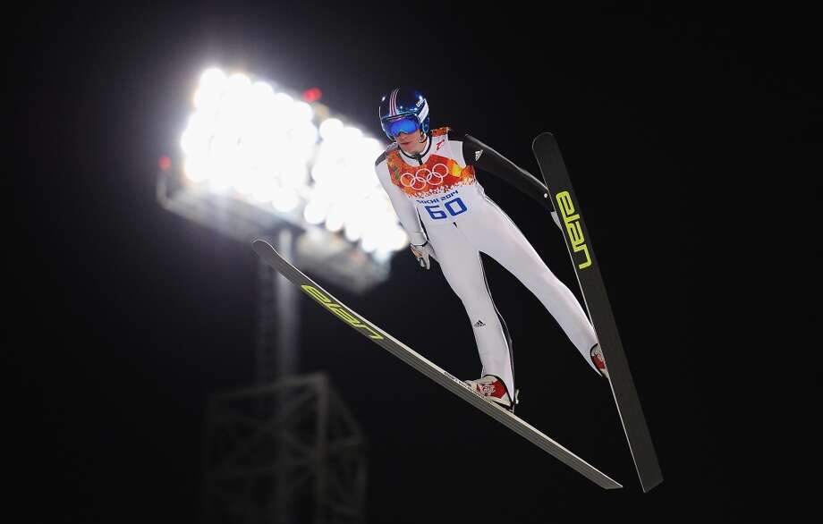 SOCHI, RUSSIA - FEBRUARY 08: Peter Prevc of Slovenia jumps during the Men's Normal Hill Individual Qualification on day 1 of the Sochi 2014 Winter Olympics at the RusSki Gorki Ski Jumping Center on February 8, 2014 in Sochi, Russia.  (Photo by Lars Baron/Getty Images) Photo: Lars Baron, Getty Images