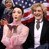 SOCHI, RUSSIA - FEBRUARY 08:  Meryl Davis and Charlie White of the United States wait for their score during the Figure Skating Team Ice Dance - Short Dance during day one of the Sochi 2014 Winter Olympics at Iceberg Skating Palace on February 8, 2014 in Sochi, Russia.  (Photo by Darren Cummings/Pool/Getty Images)