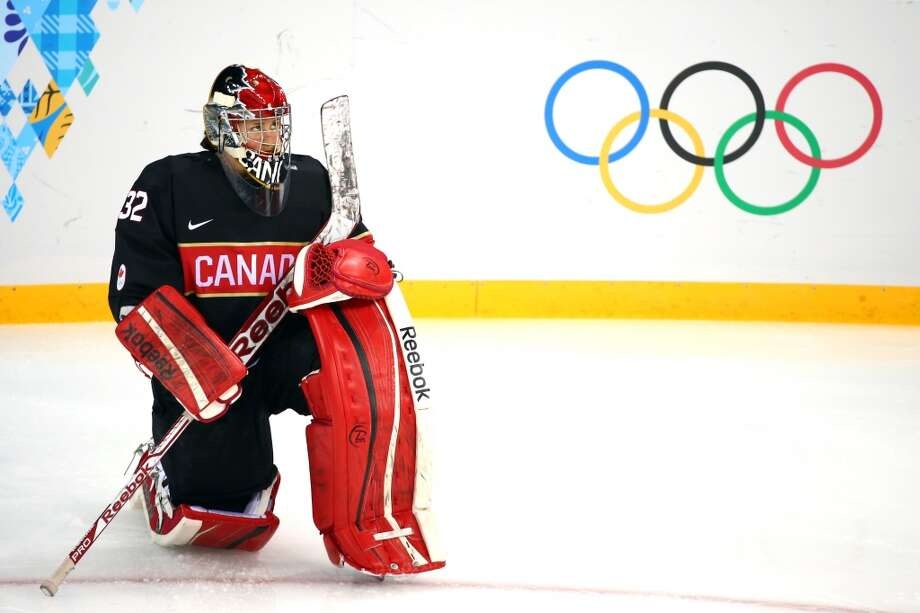 SOCHI, RUSSIA - FEBRUARY 08:  Charline Labonte #32 of Canada looks on against Switzerland during the Women's Ice Hockey Preliminary Round Group A Game on day 1 of the Sochi 2014 Winter Olympics at Shayba Arena on February 8, 2014 in Sochi, Russia.  (Photo by Martin Rose/Getty Images) Photo: Getty Images