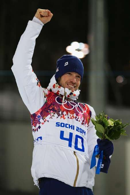 SOCHI, RUSSIA - FEBRUARY 08: Bronze medallist Jaroslav Soukup of the Czech Republic celebrates during the flower ceremony forthe Men's Sprint 10 km during day one of the Sochi 2014 Winter Olympics at Laura Cross-country Ski & Biathlon Center on February 8, 2014 in Sochi, Russia.  (Photo by Richard Heathcote/Getty Images) Photo: Getty Images