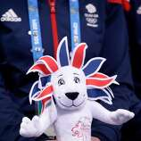 SOCHI, RUSSIA - FEBRUARY 08: A member of Team GB holds a stuffed version of their mascot Pride during the Figure Skating Team Ice Dance - Short Dance during day one of the Sochi 2014 Winter Olympics at Iceberg Skating Palace on February 8, 2014 in Sochi, Russia.  (Photo by Darren Cummings/Pool/Getty Images)