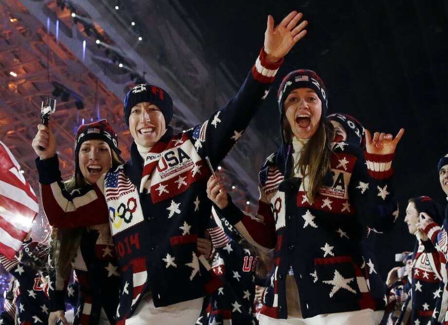 The United States team arrives during the opening ceremony of the 2014 Winter Olympics in Sochi, Russia, Friday, Feb. 7, 2014. (AP Photo/Patrick Semansky) Photo: Associated Press