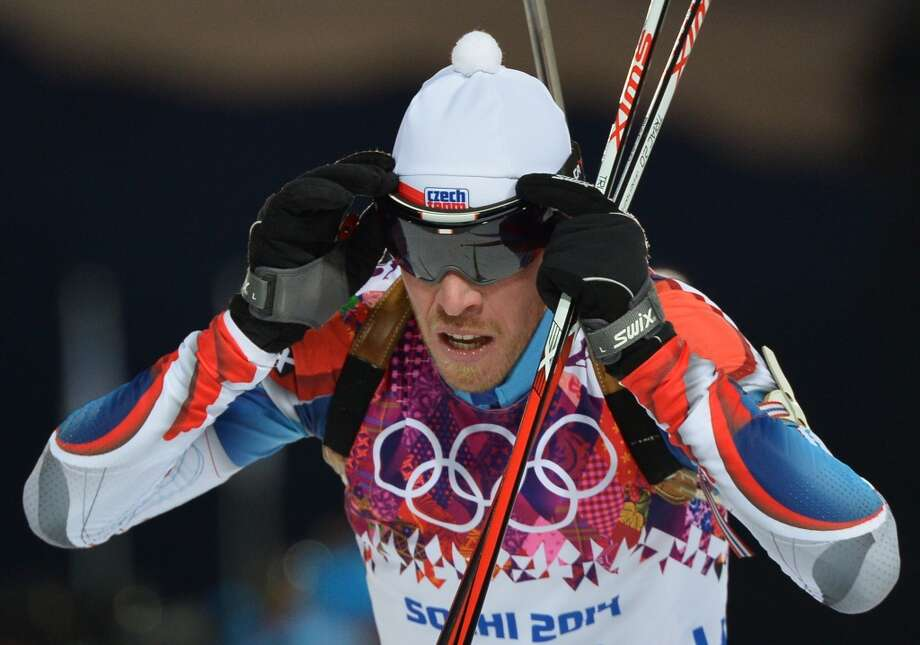 Czech Republic's Jaroslav Soukup competes during the Men's Biathlon 10 km Sprint at the Laura Cross-Country Ski and Biathlon Center during the Sochi Winter Olympics on February 8, 2014 in Rosa Khutor. AFP PHOTO / ALBERTO PIZZOLIALBERTO PIZZOLI/AFP/Getty Images Photo: AFP/Getty Images
