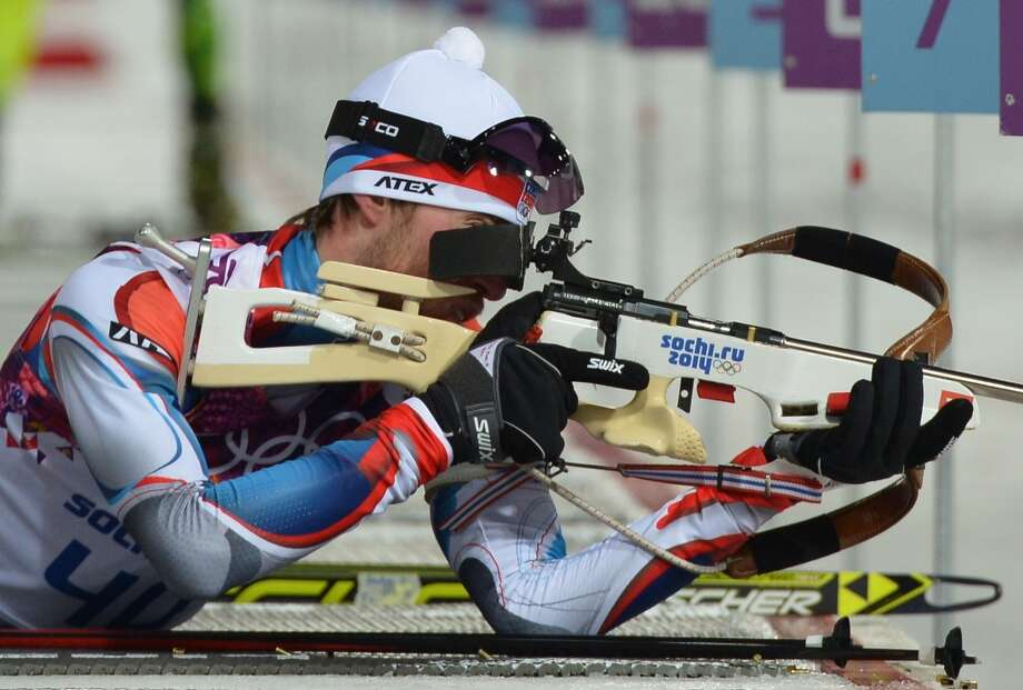 Czech Republic's Jaroslav Soukup readies to shoot at the range during the Men's Biathlon 10 km Sprint at the Laura Cross-Country Ski and Biathlon Center during the Sochi Winter Olympics on February 8, 2014 in Rosa Khutor. AFP PHOTO / ALBERTO PIZZOLIALBERTO PIZZOLI/AFP/Getty Images Photo: AFP/Getty Images