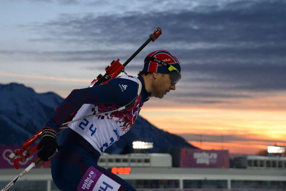 Norway's Ole Einar Bjoerndalen competes in the Men's Biathlon 10 km Sprint at the Laura Cross-Country Ski and Biathlon Center during the Sochi Winter Olympics on February 8, 2014 in Rosa Khutor. AFP PHOTO / KIRILL KUDRYAVTSEVKIRILL KUDRYAVTSEV/AFP/Getty Images Photo: AFP/Getty Images