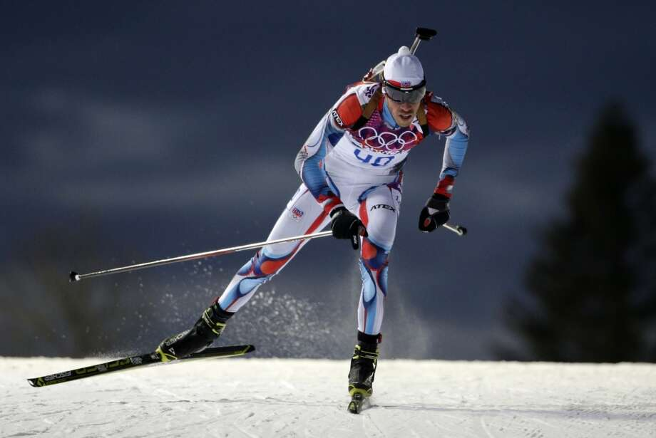 Czech Republic's Jaroslav Soukup competes to win the bronze medal in the men's biathlon 10k sprint, at the 2014 Winter Olympics, Saturday, Feb. 8, 2014, in Krasnaya Polyana, Russia. (AP Photo/Felipe Dana) Photo: Associated Press