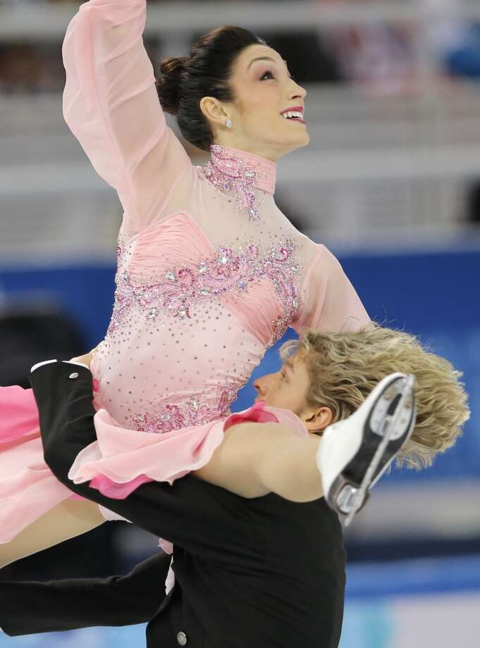 Meryl Davis and Charlie White of the United States compete in the team ice dance short dance figure skating competition at the Iceberg Skating Palace during the 2014 Winter Olympics, Saturday, Feb. 8, 2014, in Sochi, Russia. (AP Photo/Vadim Ghirda) Photo: Associated Press
