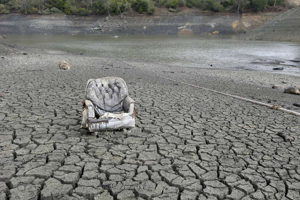 The cracked-dry bed of the Almaden Reservoir in San Jose.