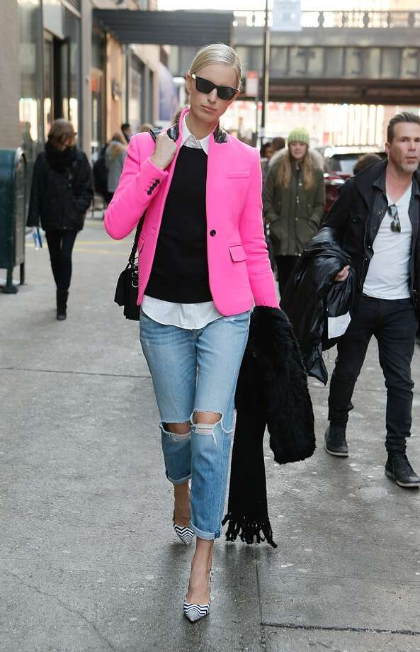 Model Karolina Kurkova is seen wearing everything by Rag and Bone,  jacket by Unconditional and shoes by Nicholas Kirkwood during  New York Fashion Week Fall 2014 at Streets of Manhattan on February 7, 2014 in New York City.  (Photo by John Lamparski/Getty Images) Photo: John Lamparski, Getty Images