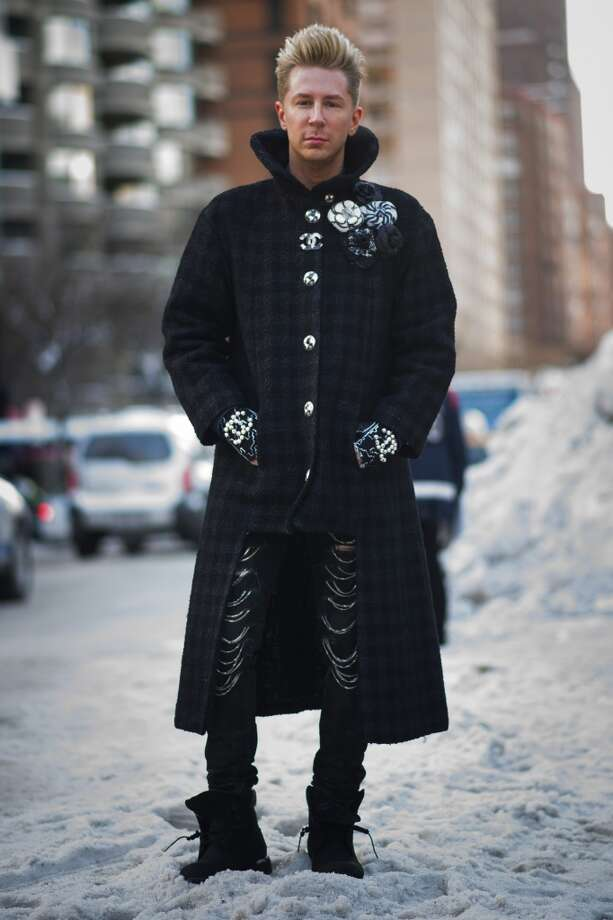 Accessories Director at Marie Claire Kyle Anderson is wearing a coat from Chanel and pants from Yves Saint Laurent on the streets of Manhattan on February 6, 2014 in New York City.  (Photo by Timur Emek/Getty Images) Photo: Timur Emek, Getty Images