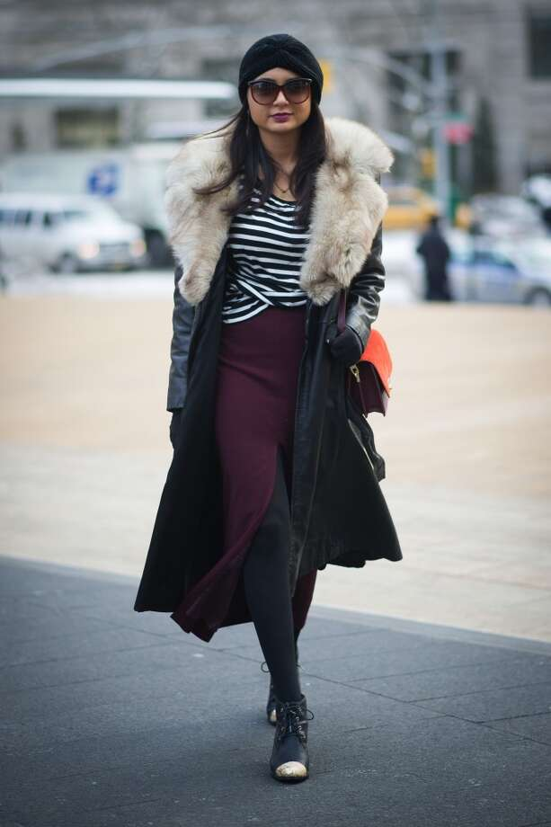 Kimberly Cohen wearing vintage fox fur, a skirt from asos, bag from Zara and shoes from Aldo on the streets of Manhattan on February 6, 2014 in New York City.  (Photo by Timur Emek/Getty Images) Photo: Timur Emek, Getty Images