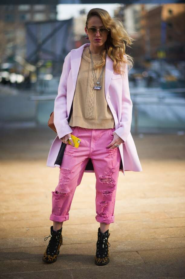 Elshane wearing a jacket from Smythe, pants fom Mink Pink, shoes from Diane von Fuerstenberg and jewels from Nissa on the Streets of Manhattan on February 6, 2014 in New York City.  (Photo by Timur Emek/Getty Images) Photo: Timur Emek, Getty Images