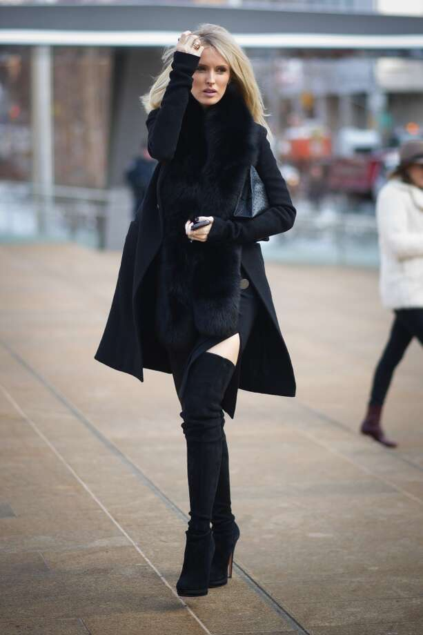 Kate Davidson Hudson wearing coat from Rick Owens on the streets of Manhattan on February 6, 2014 in New York City.  (Photo by Timur Emek/Getty Images) Photo: Timur Emek, Getty Images