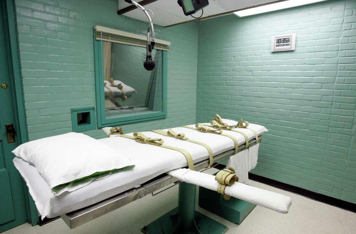 The Texas prison system will revise its death row procedures later this month. Above is the gurney in the death chamber in Huntsville.