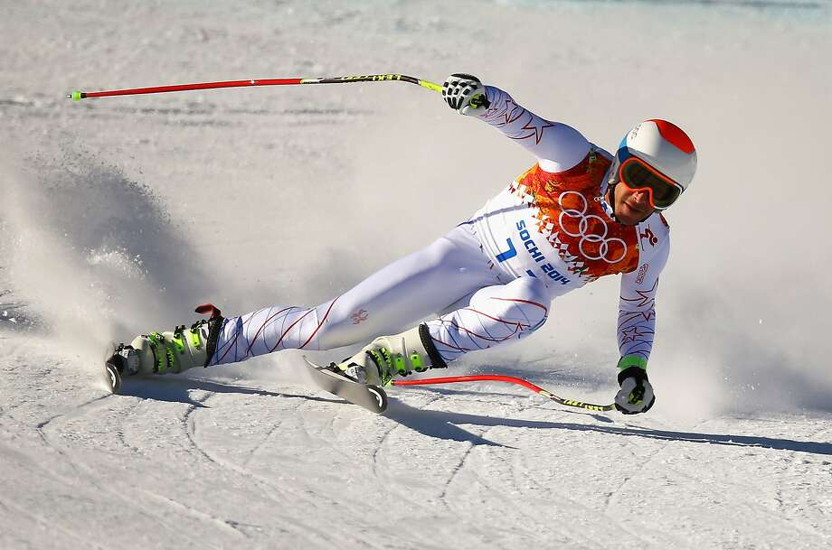 "Bode Miller zips down the hill during a training run Saturday. He said of the Rosa Khutor layout, ""If you're not totally focused and paying attention, this course can kill you."" Photo: Doug Pensinger, Getty Images"