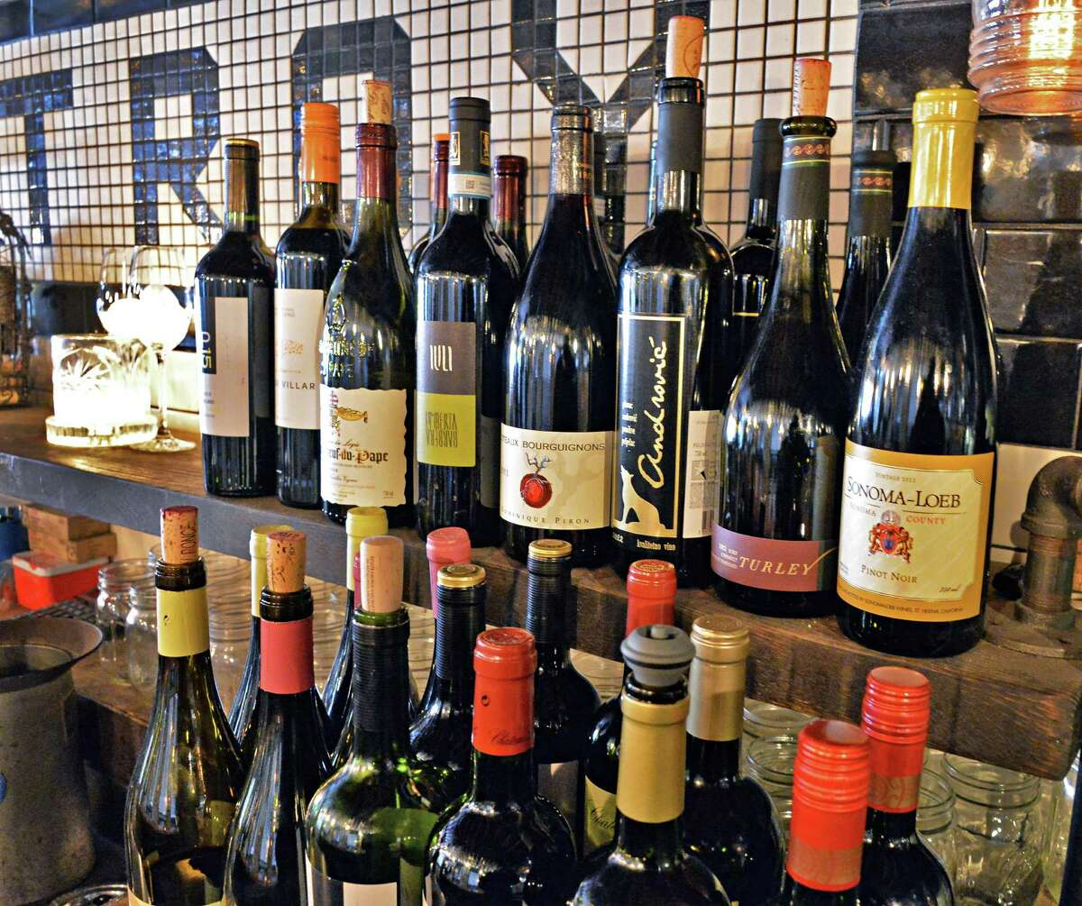 Boutique wines are displayed at the wine bar Friday, Feb., 7, 2014, at Lucas Confectionery in Troy, N.Y. (John Carl D'Annibale / Times Union)