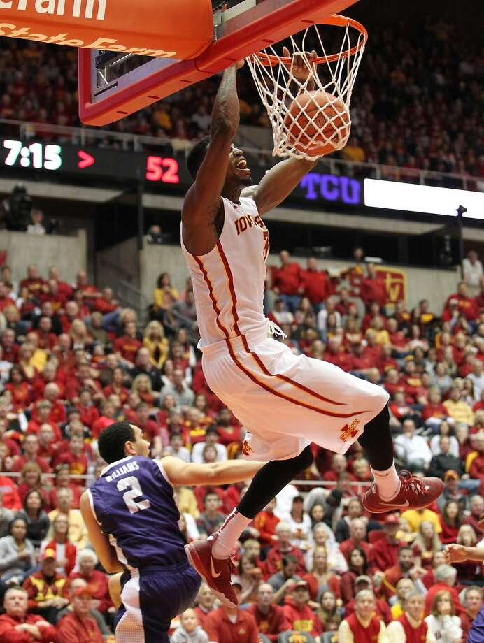 Melvin Ejim's 48-point outburst for Iowa State against TCU included this and five other dunks. He made 20 of 24 shots. Photo: Reese Strickland, Reuters