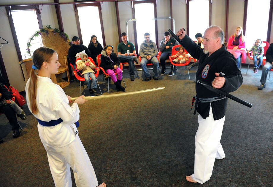 A karate demonstration by martial artist Sensei Rocklin Stone and his Uki, Allie Miller, is held at the Asian New Year Celebration at Beardsley Zoo in Bridgeport, Conn. on Saturday February 8, 2014. 2014 marks the Year of the Horse. Photo: Christian Abraham / Connecticut Post