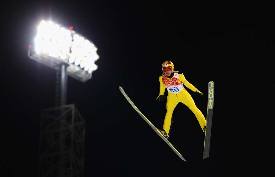 SOCHI, RUSSIA - FEBRUARY 08: Noriaki Kasai of Japan jumps during the Men's Normal Hill Individual Qualification on day 1 of the Sochi 2014 Winter Olympics at the RusSki Gorki Ski Jumping Center on February 8, 2014 in Sochi, Russia.  (Photo by Lars Baron/Getty Images) Photo: Lars Baron, Getty Images