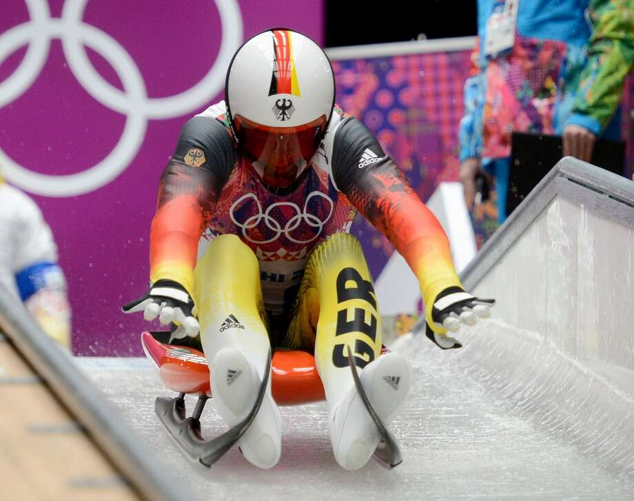 Germany's Felix Loch (10) starts his luge run in the first heat of the men's single luge at the Sanki Sliding Centre during the Winter Olympics in Sochi, Russia, Saturday, Feb. 8, 2014. (Chuck Myers/MCT) Photo: Chuck Myers, McClatchy-Tribune News Service