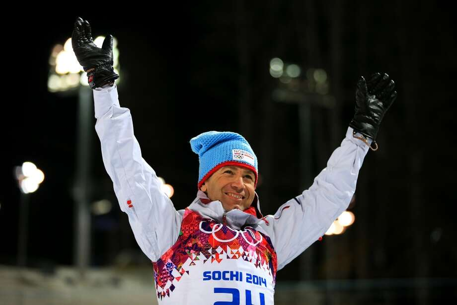 SOCHI, RUSSIA - FEBRUARY 08:  Gold medalist Ole Einar Bjoerndalen of Norway celebrates during the flower ceremony for the Men's Sprint 10 km during day one of the Sochi 2014 Winter Olympics at Laura Cross-country Ski & Biathlon Center on February 8, 2014 in Sochi, Russia.  (Photo by Richard Heathcote/Getty Images) Photo: Getty Images