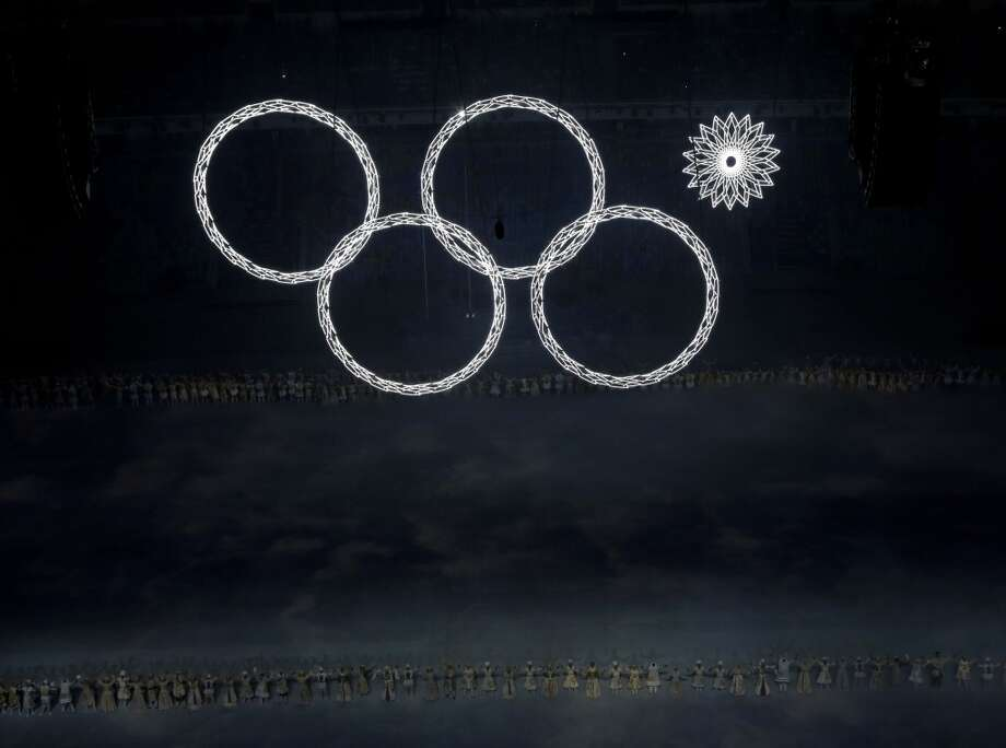 One of the Olympic rings fails to open during the opening ceremony of the 2014 Winter Olympics in Sochi, Russia, Friday, Feb. 7, 2014. (AP Photo/David J. Phillip ) Photo: Associated Press