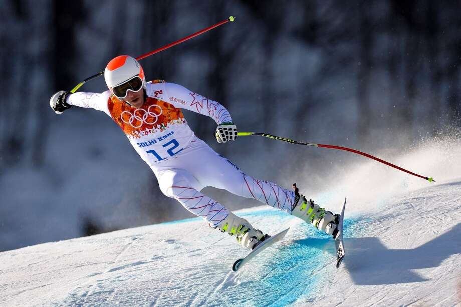 US skiier Bode Miller takes part in a Men's Alpine Skiing Downhill training session at the Rosa Khutor Alpine Center on February 7, 2014, before the start of the Sochi Winter Olympics.     AFP PHOTO / FABRICE COFFRINIFABRICE COFFRINI/AFP/Getty Images Photo: AFP/Getty Images