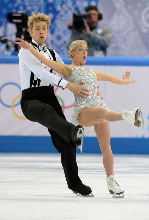 Great Britain's Nicholas Buckland and Great Britain's Penny Coomes perform in the Figure Skating Team Ice Dance Short Dance at the Iceberg Skating Palace during the Sochi Winter Olympics on February 8, 2014.   AFP PHOTO / YURI KADOBNOVYURI KADOBNOV/AFP/Getty Images Photo: AFP/Getty Images