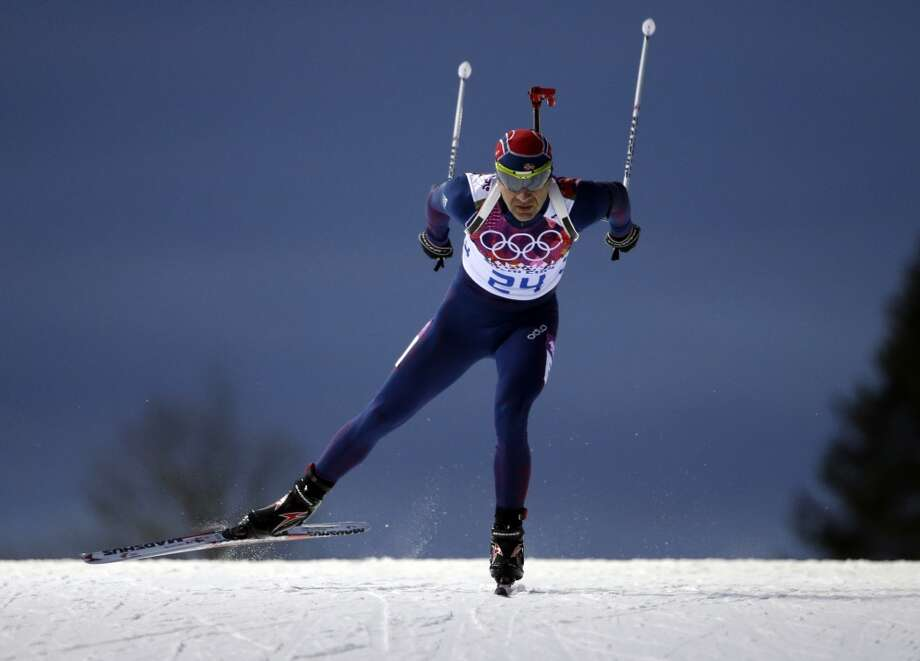 Norway's Ole Einar Bjoerndalen competes to win the gold medal in the men's biathlon 10k sprint, at the 2014 Winter Olympics, Saturday, Feb. 8, 2014, in Krasnaya Polyana, Russia. (AP Photo/Felipe Dana) Photo: Associated Press