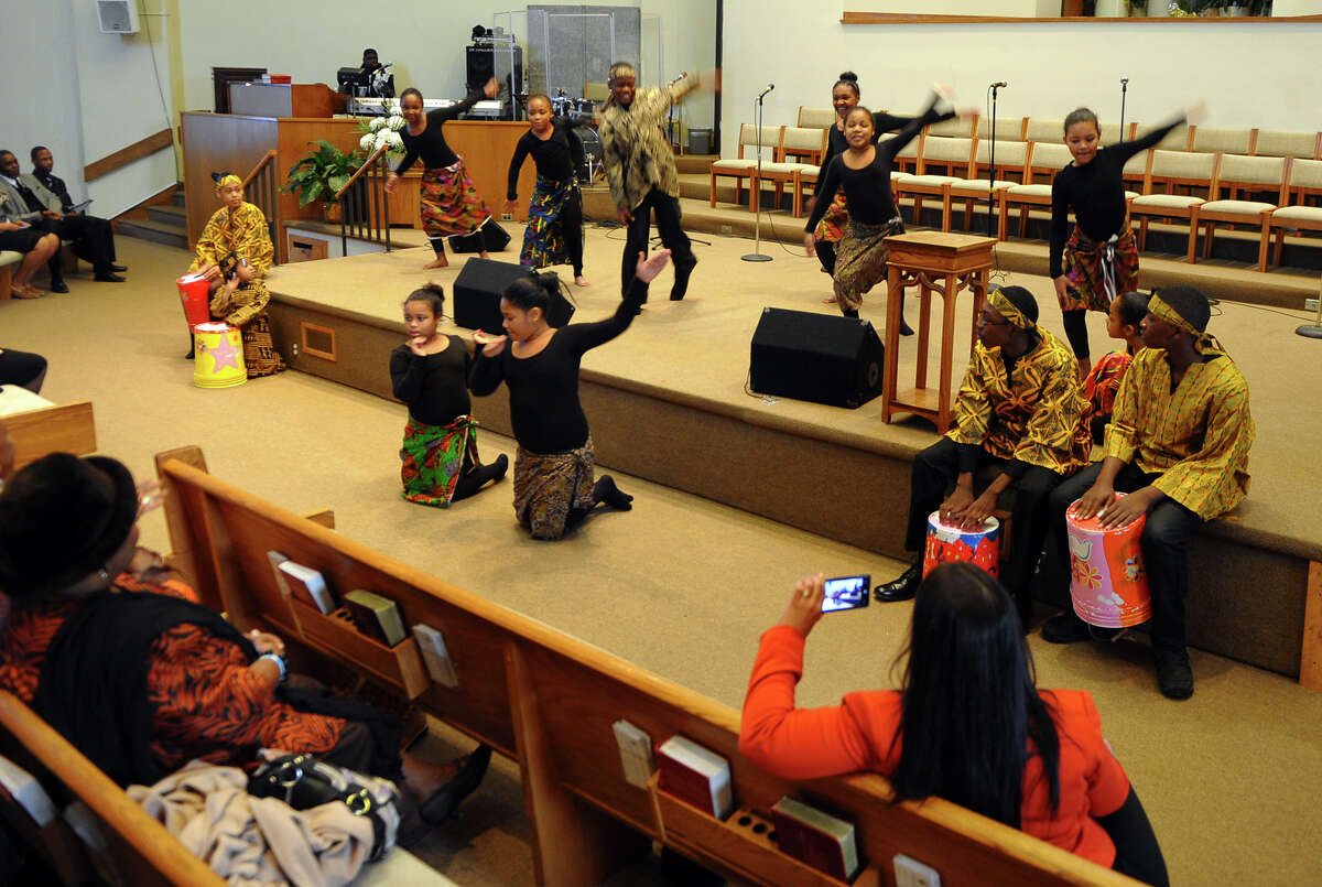 The East End Tabernacle Drumline Choir performs during a Juneteenth Black History Month Worship Service held at Mount Aery Baptist Church in Bridgeport, Conn. on Saturday February 8, 2014. The celebration included dance, local gospel choirs, vocalists and speaker Dr. Charles L. Stallworth of East End Baptist Church in Bridgeport. Stallworth, a native of Alabama, gave a speech entitled: