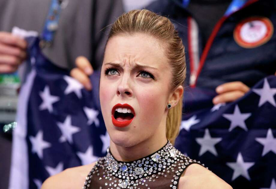 Ashley Wagner of the United States reacts to her score after competing in the Figure Skating Team Ladies Short Program during day one of the Sochi 2014 Winter Olympics at Iceberg Skating Palace on February 8, 2014 in Sochi, Russia. Photo: Pool / 2014 Getty Images