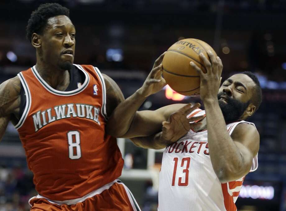 James Harden (13) drives against Larry Sanders. Photo: Jeffrey Phelps, Associated Press