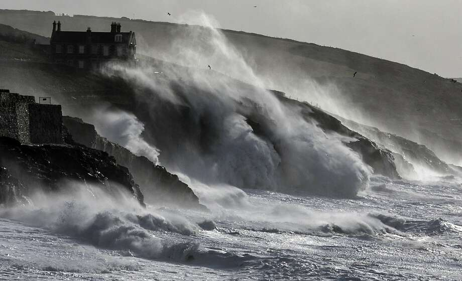 PORTHLEVEN, UNITED KINGDOM - FEBRUARY 08:  Storm waves break on February 8, 2014 at Porthleven in Cornwall, England. The UK is bracing itself for more storms and spells of rain over the weekend.  (Photo by Matt Cardy/Getty Images) *** BESTPIX *** Photo: Matt Cardy, Getty Images