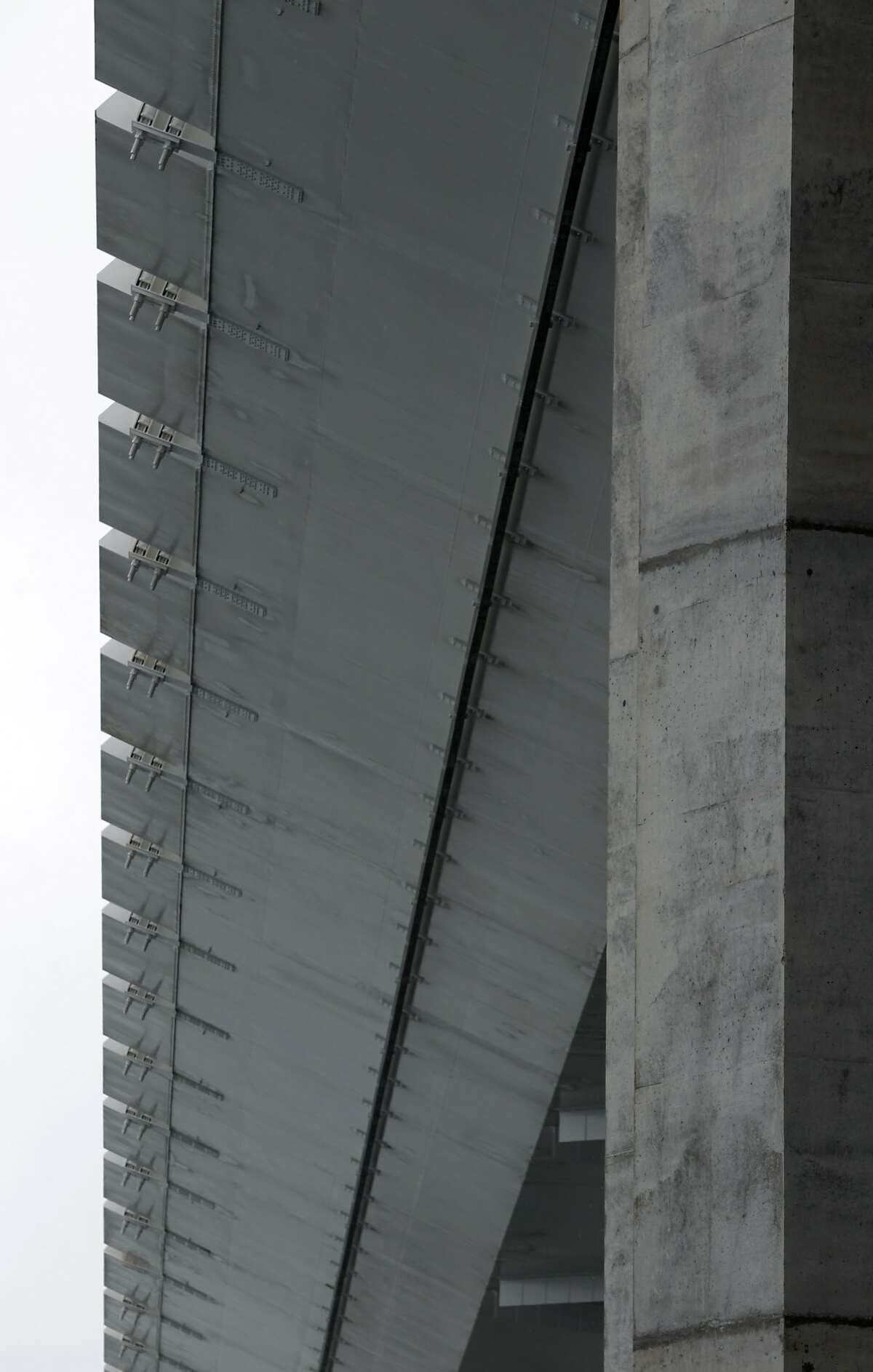 The underside of the SAS bridge deck of the new eastern Bay Bridge span is seen in San Francisco, Calif. on Thursday, Feb. 6, 2014. Engineers are monitoring areas where small amounts of water is seeping into the structure, a situation which is not uncommon, according to spokesman Andrew Gordon.