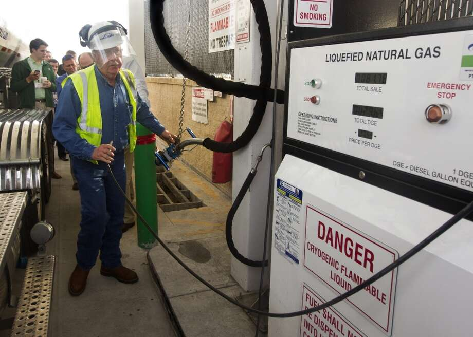 David Cox with the Linde Group fuels his eighteen-wheel truck with natural gas at the Pilot-Flying J Travel Center on Monday, Jan. 21, 2013, in Baytown. Photo: J. Patric Schneider, For The Houston Chronicle