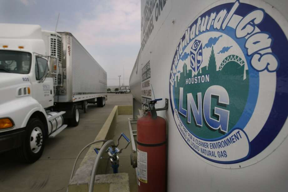 Sysco incorporates liquid natural gas into their truck fleet, shown in June 2005 in Houston.  The LNG trucks pollute less than diesel, but do not get the same fuel economy. Photo: Kevin Fujii, Houston Chronicle