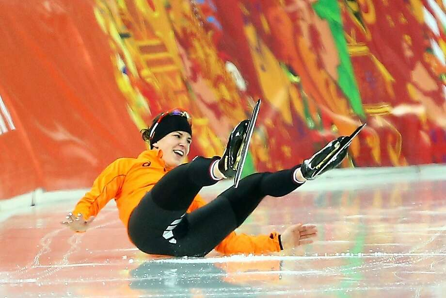Irene Wust of the Netherlands celebrates after the Women's 3000m Speed Skating event during day 2 of the Sochi 2014 Winter Olympics at Adler Arena Skating Center on February 9, 2014 in Sochi, Russia. Photo: Streeter Lecka, Getty Images