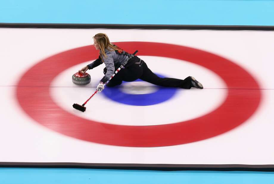 Jennifer Jones of Canada in action during curling training on day 2 of the Sochi 2014 Winter Olympics at the Ice Cube Curling Centre on February 9, 2014 in Sochi, Russia. Photo: Clive Mason, Getty Images