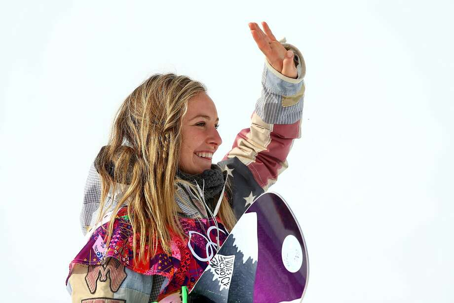 Gold medalist Jamie Anderson of the United States celebrates during the flower ceremony for the Women's Snowboard Slopestyle Finals during day two of the Sochi 2014 Winter Olympics at Rosa Khutor Extreme Park on February 9, 2014 in Sochi, Russia. Photo: Cameron Spencer, Getty Images