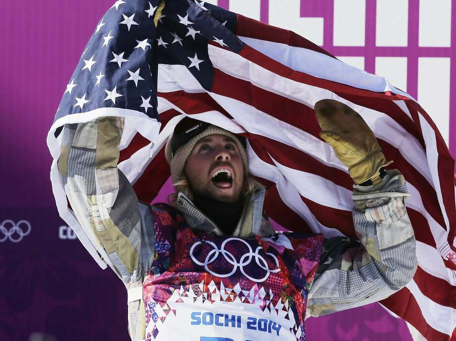 United States' Sage Kotsenburg celebrates after winning the men's  snowboard slopestyle final at the Rosa Khutor Extreme Park, at the 2014 Winter Olympics, Saturday, Feb. 8, 2014, in Krasnaya Polyana, Russia.  Photo: Andy Wong, Associated Press