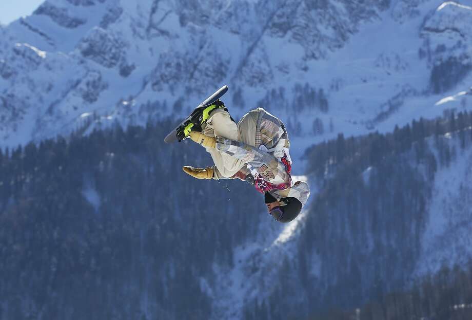 United States' Sage Kotsenburg takes a jump during the men's  snowboard slopestyle final at the Rosa Khutor Extreme Park, at the 2014 Winter Olympics, Saturday, Feb. 8, 2014, in Krasnaya Polyana, Russia. Photo: Sergei Grits, Associated Press