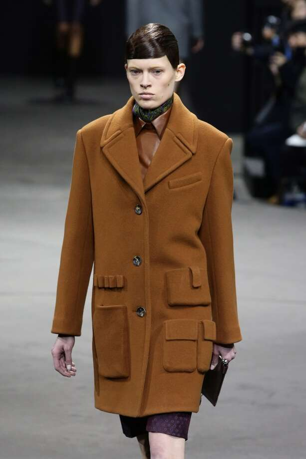Outerwear with utility pockets was a theme at the show. Photo: Neilson Barnard, Getty Images