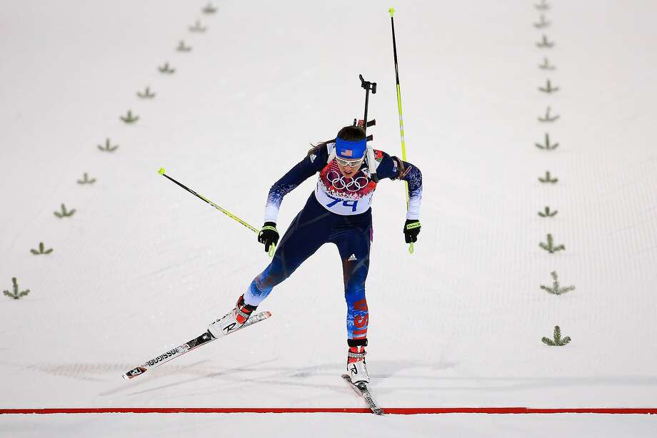 Sara Studebaker of the United States crosses the finish line in the Women's 7.5 km Sprint during day two of the Sochi 2014 Winter Olympics at Laura Cross-country Ski & Biathlon Center on February 9, 2014 in Sochi, Russia. Photo: Richard Heathcote, Getty Images