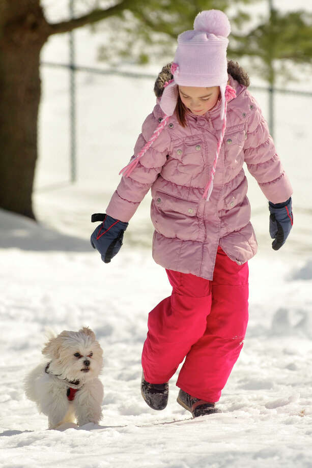 Katerina Markov runs up a snow-covered hill with her dog, Jackson, at Scalzi Park in Stamford, Conn., on Sunday, Feb. 9, 2014. Photo: Jason Rearick / Stamford Advocate
