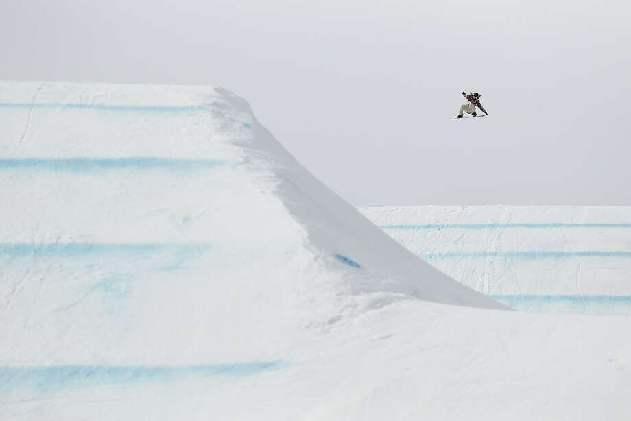 Jamie Anderson, a South Lake Tahoe native, executes a jump during a run that resulted in her winning a gold medal. Photo: Rob Schumacher, Reuters