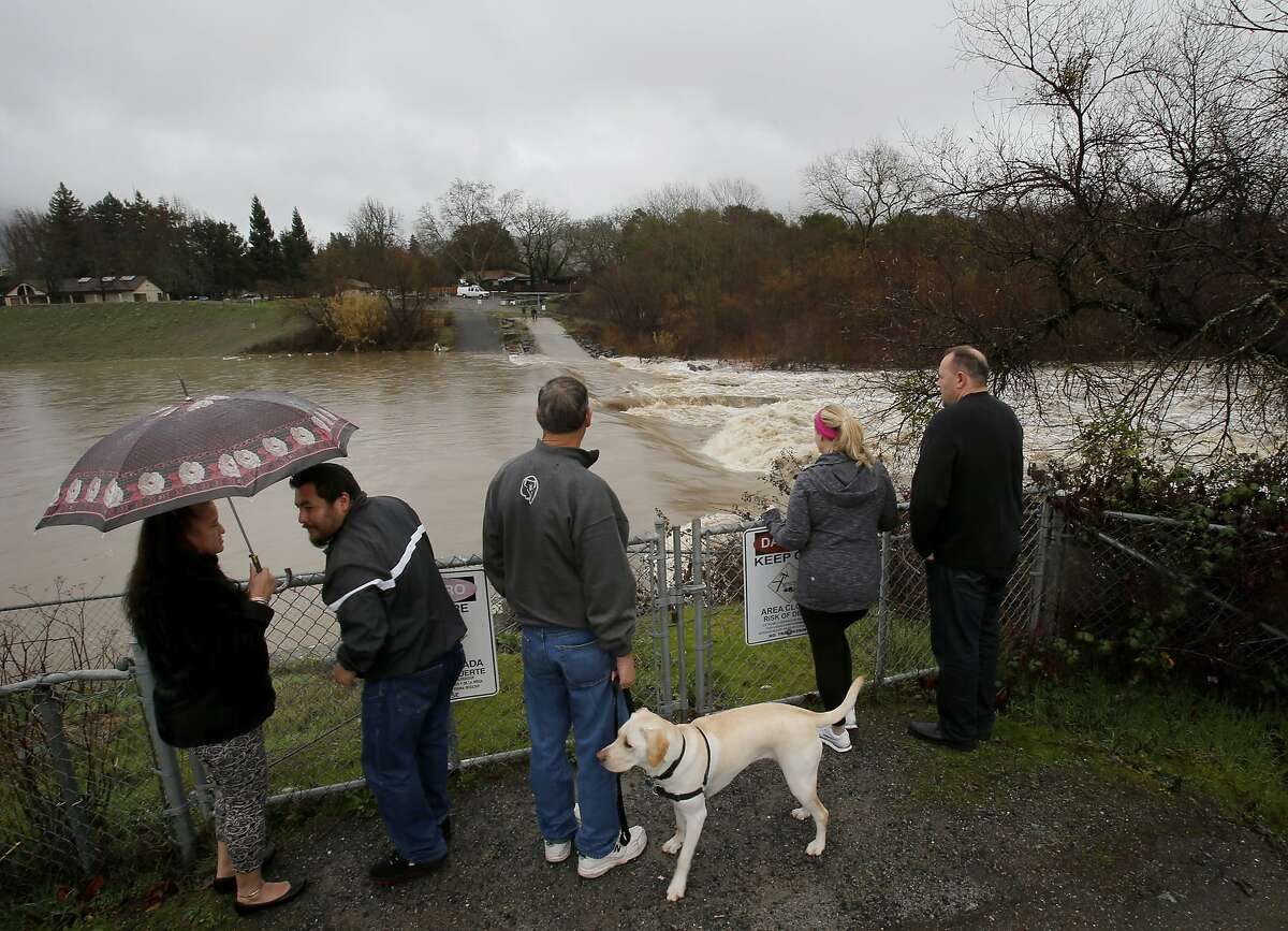 Near the Healdsburg Memorial Beach, residents watched the swollen Russian River Sunday February 9, 2014 in Healdsburg, Calif. Sonoma County received a good portion of the rainfall this weekend. The rain flooded the usual areas but also completely changed the Russian River flows.