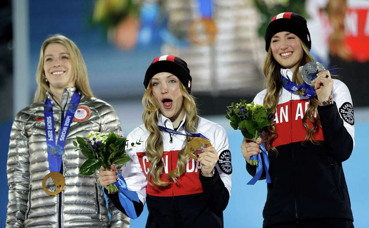 Hannah Kearney, left, who finished behind Canadian sisters Justine, center, and Chloe Dufour-Lapointe, might be ready to move to another phase of life after her third Olympics.